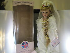 Vintage J Misa Porcelain Doll In Wedding Dress With Box, Hang Tag, and Certifica