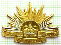 Australian Army  'Staybrite' General Service (Rising Sun) hat badge ('91-96)
