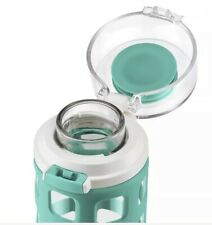 Ello Pure BPA-Free Go Glass Water Bottle with Lid, 20 oz Mint Teal Fizz Set Of 2
