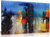 Abstract Art Romance In The Rain Canvas Wall Art Picture Print