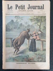 """Le petit journal illustré revue 1898 n°398 """"Terrible ruade"""""""