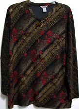 Stonebridge 2X Floral Black Red Gold Metallic V Neck Tunic Top Acetate Polyester