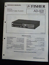 Original Service Manual Fisher Compact Disc Player  AD-931