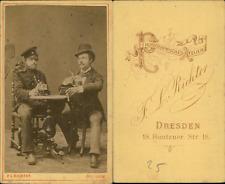 Richter, Dresden, messieurs prenant une bière Vintage CDV albumen carte de visit