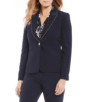 Tahari ASL Blazer One Button Jacket Black Trim Sz 14P Petite NEW NWT 380
