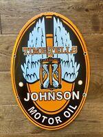 "Vintage Johnson Motor Oil Heavy Porcelain Oval Sign 16.5""x 11"" Gas & Oil Sign"