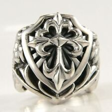 BIG KNIGH CROSS SOLID 925 STERLING SILVER MEN'S RING Sz 9 NEW CHRISTIAN NEW BAND