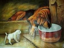 More details for large oil painting of bloodhound and terrier