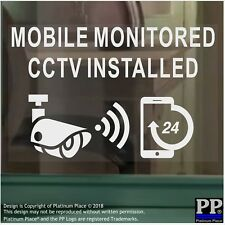 6x CCTV-Mobile Monitored Installed-WINDOW-Security Warning Camera Sign Stickers