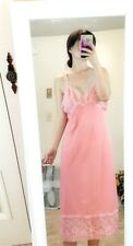 Vintage Pink Nylon Lingerie lace trimed Nightgown Gown bust 40