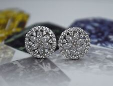 2.00CT Created Diamond Snowflake Marquise & Round 14k White Gold Stud Earrings