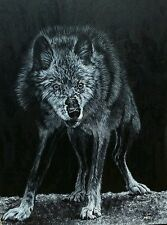 Wolf, Original Painting, by Kate Cloud, Stretched canvas, Acrylic