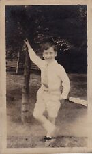 Old Vintage Antique Photograph Little Boy in Shorts Posing in Yard by Tree