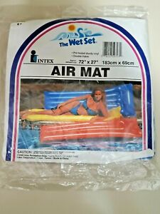 """The Wet Set 72"""" x 27"""" Vintage Inflatable Air Mat Intex 1992 Blue *NEW in Package"""