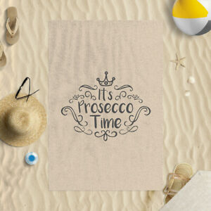 """58x39"""" It's Prosecco Time Neutral Microfibre Beach Towel Summer Holiday Gift"""