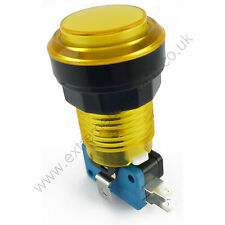 28mm Round 12v LED T10 Bulb Arcade Button & Microswitch (Yellow) - MAME, JAMMA