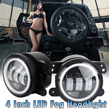 "4"" inch White Halo LED Fog Lights For 2007-17 Jeep Wrangler JK Front Bumper Lamp"
