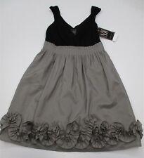 new NIGHT WAY #DR1445 Women Size 4 Formal Pleated V-Neck Empire Waist Gray Dress