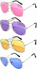 SET OF 4 COLORED LENS AVIATOR STYLE METAL SUNGLASSES BLUE PINK PURPLE YELLO LENS