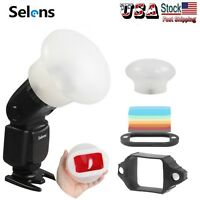 US Selens 3 in 1 Magnetic Flash Modifier Sphere Diffuser Color Filter Gels Kit