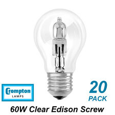 20 x 60W Clear Light Globes / Bulbs E27 Screw Halogen Warm White Dimmable A60