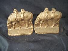 "Metal bookends pair grazing horses 3"" copper color western cast iron art cowboy"