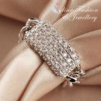 18K White Gold Plated Simulated Diamond Stylish Linked Chain Soft Band Ring