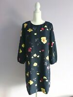 Ann Taylor NWT Sz 10 Navy Blue Floral Shift Dress Poet Puff Sleeves Yellow Pink