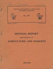 1937 Wisconsin Biennial Report Department of Agriculture & Markets Bulletin