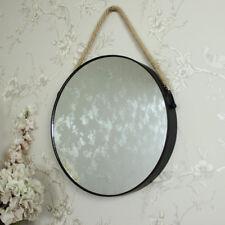 Metal Negro Redondo Espejo de pared envejecido retro-chic baño RECIBIDOR