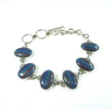 Created Oval Shape Rainbow Calsilica Solid Sterling Silver Toggle Bracelet