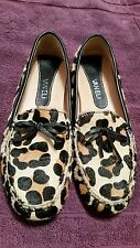 LADIES VANELI LEOPARD LOAFERS TRIMMED IN LEATHER - SIZE 7B