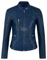 Ladies Real Leather Jacket Blue Fashion Stylish Biker Style 100% LEATHER 9213