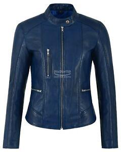 Ladies Real Leather Jacket Blue Fashion Stylish Biker Style Top Rock Jacket 9213