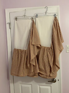"""Lot Of -2-VHC Brands April & Olive Twin Bed Skirt Striped Cotton 39x76x16"""""""
