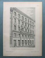 AR93) Architektur Wien 1893 Weyringergasse Wohnhaus Fassade Holzstich 28x39cm