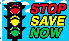 STOP SAVE NOW Car Lot Dealer Sale Business Message 3x5 Polyester Flag