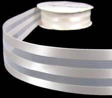 "5 Yds Antique White Ivory Satin Sheer Triple Striped Wedding Ribbon 1 1/2""W"