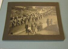 Vintage 1910 Era Soldiers Marching in Parade Cabinet Card Photo Great Uniforms