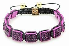 Purple Pave Crystal Pink Square Shamballa Hip Hop Bracelet One Size NEW