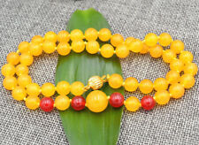 "Fashion 8mm Yellow Jade & Ruby Chalcedony Round Beads Gemstones Necklace 18"""