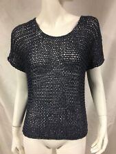 Women's EILEEN FISHER Italian Yarn Steel Metallic Crochet Knit Top Size S Small