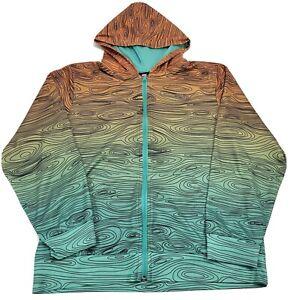 Nike SB Youth XL Green Orange Unique Swirl Pattern Long Sleeve Full Zip Hoodie