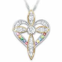 Fashion 925 Silver White Topaz Heart Cross Pendant Women Chain Choker Necklace