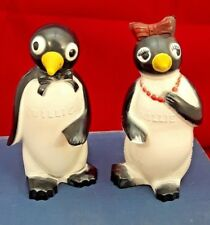 50's Vintage Willie and Millie Penguin Plastic Salt and Pepper Shakers.