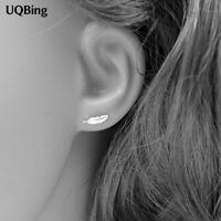 Ohrringe, Ohrstecker, Ohrschmuck, 925 Silber, Feder(12mmx4mm), Damen, NEU