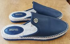 NEW MICHAEL KORS Navy Blue Leather Hastings Espadrille Mules Shoes Size 9