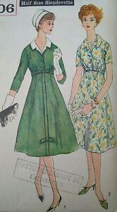 """Vintage 1950s Simplicity Slenderette Dress Sewing Pattern #2806 Bust 33"""" 84cm"""