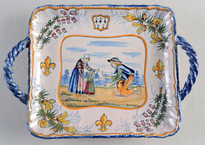 HenRiot QUIMPER France Square Handled Tray Circa 1925 Faience