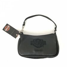 Harley Davidson Hawaii Embroidered Black Leather Clutch Zip Close NWT